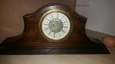 Oak Cased Art Deco Mantle Clock Mercedes Germany