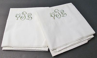 Antique Linen Pillow Case Pair Snowy White V T L Monogram in Green