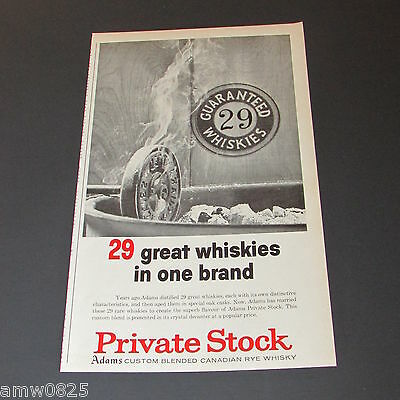 Adams Private Stock Canadian Rye Whisky 1962 Print Ad Distillery Advertising