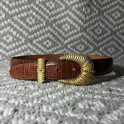 Vtg ONYX by BRIGHTON Size 28 Brown Leather crocodile Belt Brushed gold buckle