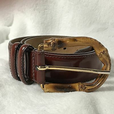 WCM New York Brown leather Belt with Bamboo Buckle Size Medium