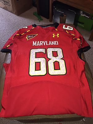 2012 Red Maryland Terrapins Terps Game Used Worn Football Jersey Under Armour