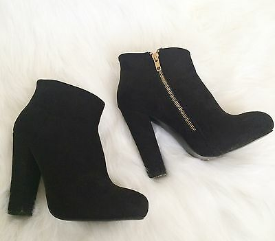 DIBA Black Suede Booties High Ankle Boot 9 M Chunky Heel Women's