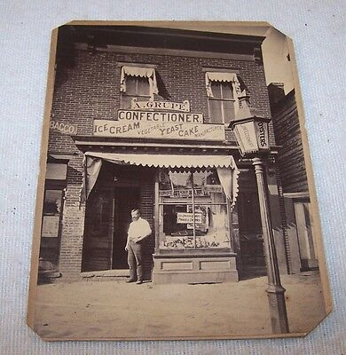 Fine c1910 Cabinet Photo - Store Front - Confectioner, Ice Cream, Oysters - NR