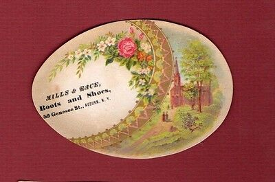 1890s Vintage Victorian Trade Card ~ Mills & Race ~ Boots & Shoes ~ Auburn NY
