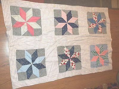 vintage star blocks table runner 39-1/2 x 27 inches tied assorted colors