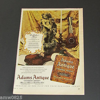 1956 Print Ad Adams Antique Canadian Whisky Distillery Advertising Violin Music