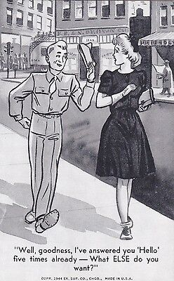 WW II,  army/navy  MILITARY - VINTAGE 1944  COMICAL arcade/exhibit  card/ SCARCE