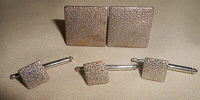 Anson Modernist Brushed Silvertone Cufflinks and Studs Set Vintage