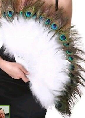 Zucker Feather Marabou Fan with Peacock Plastic Staves, White