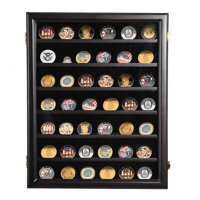 Military Challenge Coin Casino Poker Chip Display Case Shadow Box Wood Cabinet