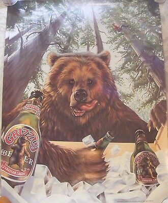 RARE - Original Vintage Grizzly Beer Advertising Poster Bar Sign - New!  33 x 26