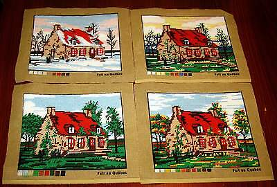 4 Charming Completed Season's Needlepoint Canvases WINTER, SPRING, SUMMER,FALL