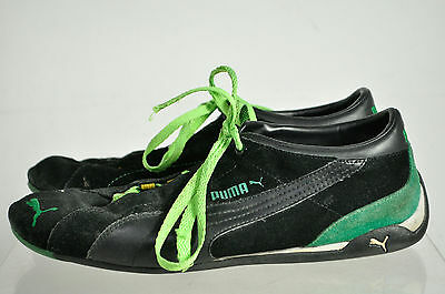 Puma Black Green Suede Lace Up Athletic Sneakers Size 11
