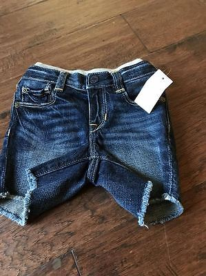 Baby gap boys Blue denim jean shorts 6-12 months pull on NWT distressed