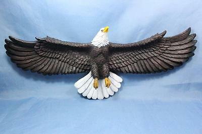"New Soaring Bald Eagle Wall Hanging Statue Sculpture Plaque 3D 22.5"" Wing Span"