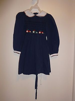 Vintage Polly Flinders Navy Blue Smocked Dress Girl's Size 6