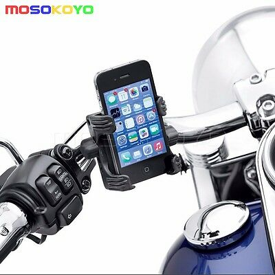 Motorcycle Handlebar Cell Phone Gps Carrier Mount Set For Harley Softail Dyna