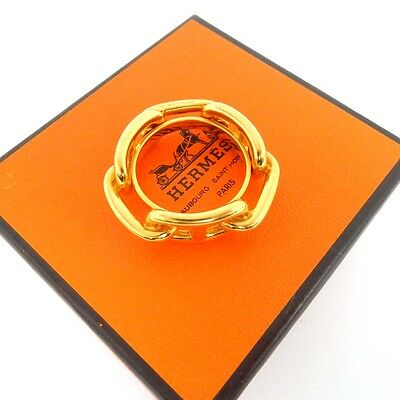 "AUTHENTIC HERMES Scarf Ring ""CHAINE D'ANCRE"" Gold Tone With Box"