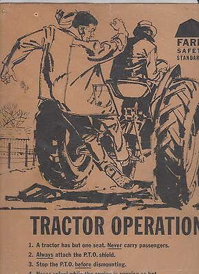 Vintage Farm  Poster Ont Dept of Agriculture & Farm Safety Council Tractor Opera