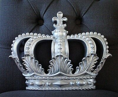 NEW *SILVER Crown Wall Decor Nursery Crib Crown  Canopy Prince Princess  WEDDING