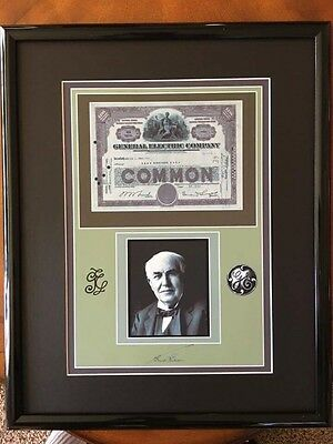 Framed & Matted General Electric Reprint Stock Certificate 21x17 Auto Edison