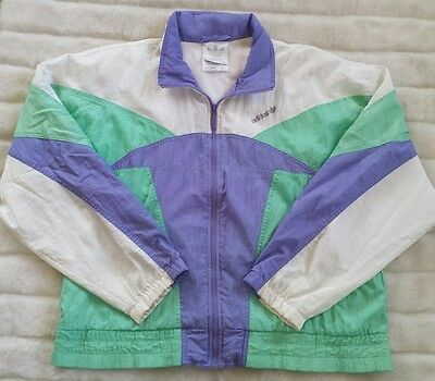 VTG 80s Adidas Sz Large Pastel Purple Green White Track Women Windbreaker Jacket