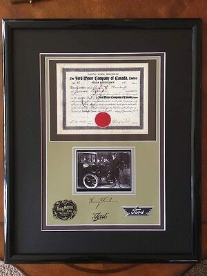 Framed & Matted Ford Motor Co. Reprint Stock Certificate 21x17 Rep Auto H Ford