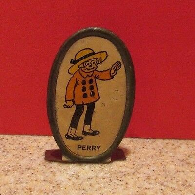"""Vintage Cracker Jack Cartoon Series Tin Stand Up Toy Prize Premium """"PERRY"""""""