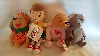 Lot of Disney Store Christopher Robin, Gopher, Pumpkin Pooh, and Love Pooh Beani
