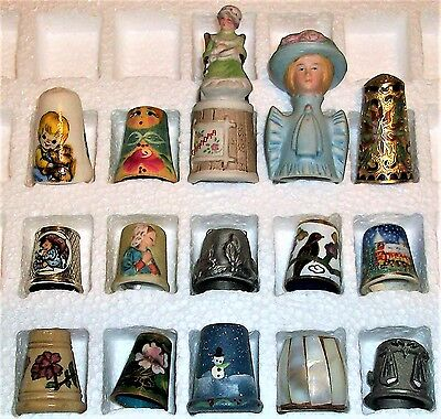 Lot Of 15 Mixed Material Novelty Thimbles