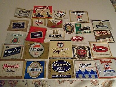 "Lot Of (25) Diff Vintage ""usa"" Beer Labels -Mint"