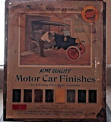 RARE Vintage Original Motor Car Finishes Color Chart Tin Sign 1920's 12 x 15