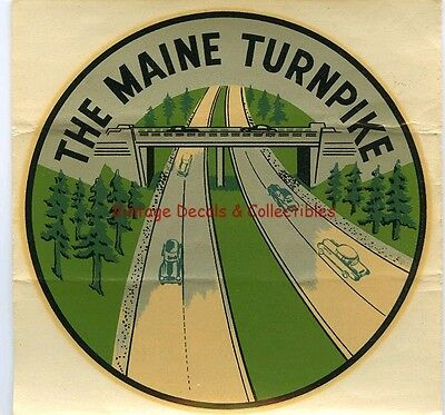 Vintage Travel Decal The Maine Turnpike Original Souvenir 1948 Window Auto Water