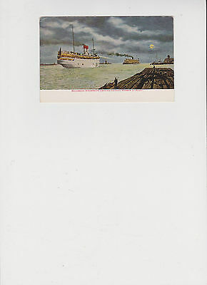 Excursion Steamships Leaving Chicago Harbor at Night  Vintage Post Card