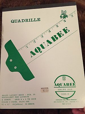 Aquabee Graph Pad Quadrille VINTAGE Layouts Ruled Bee Paper 30 Sheets Graphing
