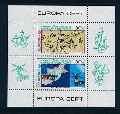 Turkish Cyprus 1983 Europa Sheetlet Map Space Photo NH cat. value $60