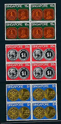 Singapore 150-2 1972 Coins on Stamps set NH blocks of 4