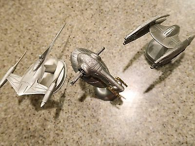star wars rawcliffe pewter 3 SHIPS -SLAVE 1  naboo N-1  and vulture droid