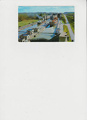 Great Lakes Freighters at Twin Flight Locks Vintage Post Card