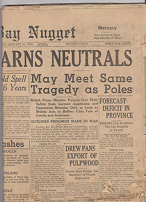 January 31 1940 The North Bay Nugget Ontario Canada Newspaper