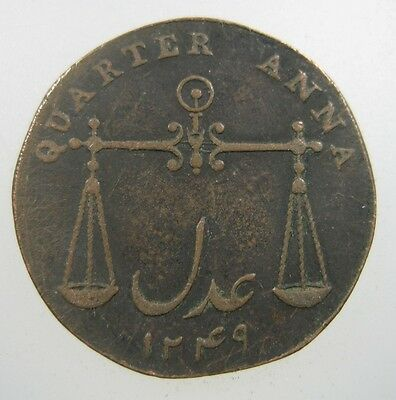 India Bombay  British 1/4 Anna 1833 Copper #s Presidency Scale Indian World Coin