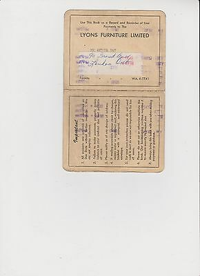 Lyons Furniture Toronto Ont. Payment Booklet 1958-59