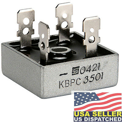 SOLID STATE KBPC3501 BRIDGE RECTIFIER, 1PH, 35A, 100V QC (1 piece)