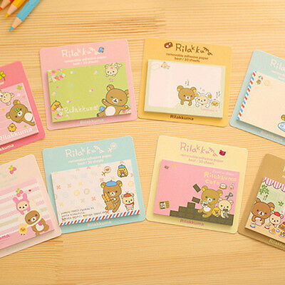 2pcs Cute Cartoon Bear Removable Adhesive Memo Pad Paper Sticky Note Page Marker