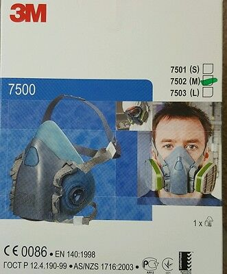 Genuine 3M Half Face Respirator,dust mask 7500 Series,7502 Medium.New.USA made