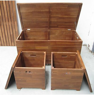 Timber outdoor Storage Bench and 2 Storage Seats