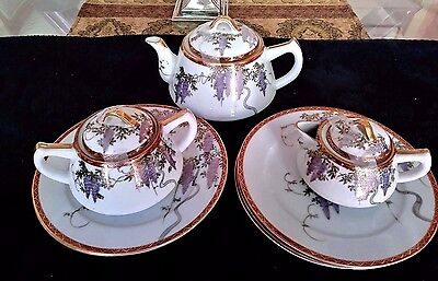 Vintage Japanese Tea Set in the Wisteria pattern & Lunch plates 11 PIECES