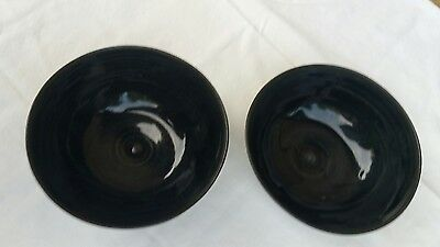 Vintage Pottery Bowl Lot Pair Matching Corofin Made In Ireland Almost Black