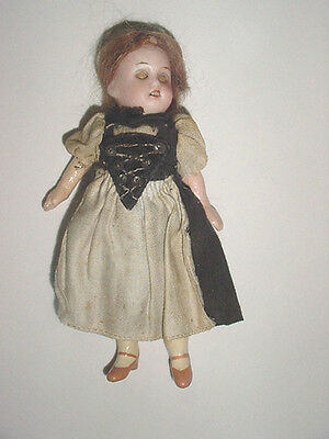 Antique - Bisque Head Doll - Jointed Body - Dollhouse Size -Open Close Eyes -USA